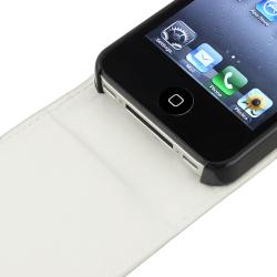 White Leather Case/ Black Travel Charger for Apple� iPhone 4/ 4S