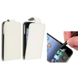 White Leather Case/ Black Stylus for Apple® iPhone 4/ 4S