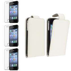 White Leather Case/ Screen Protector for Apple� iPhone 4/ 4S