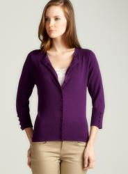 Audrey & Grace 3/4 Sleeved Crew Neck Cardigan