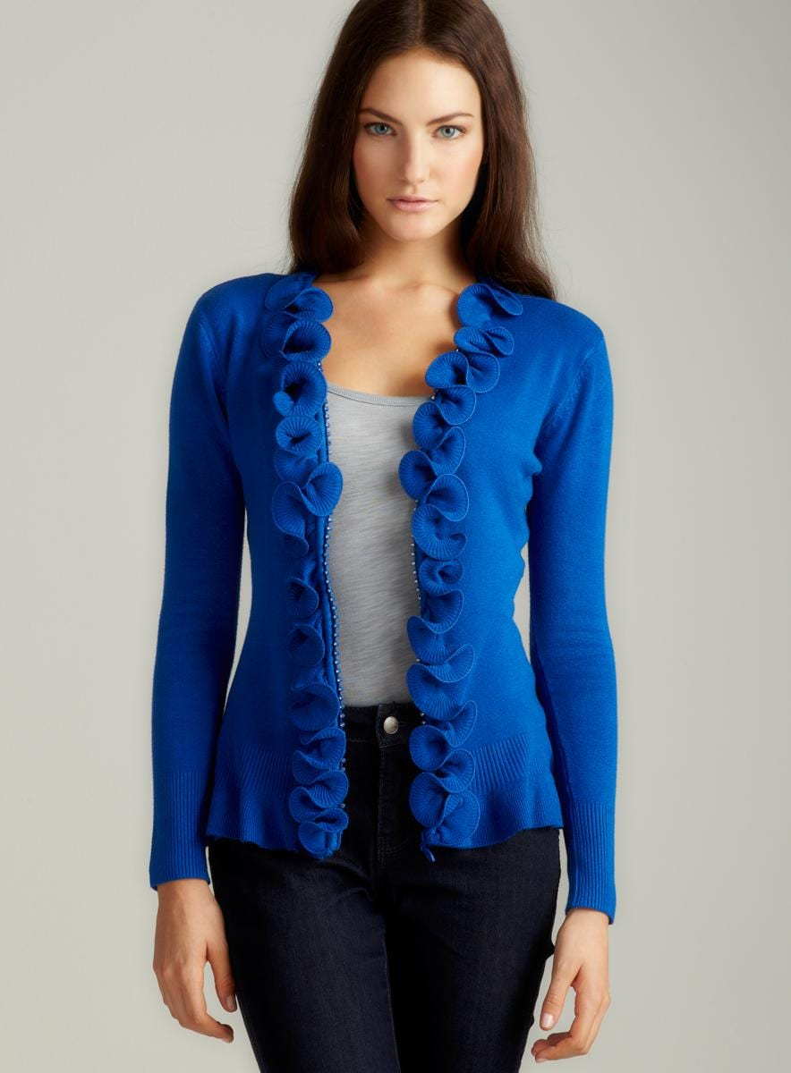 Milano L/S Zip Front Cardigan With Ruffle