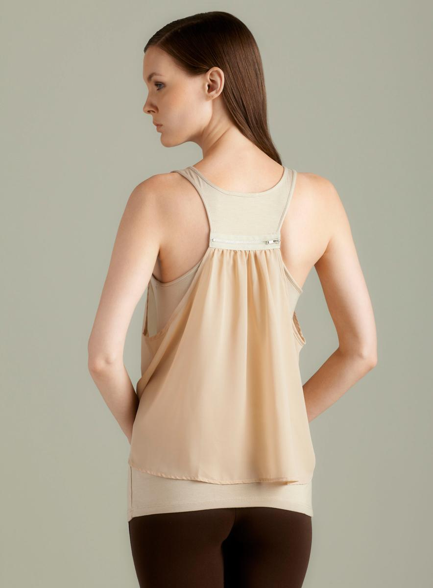 Soprano Knit Tank With Chiffon Overlay In Shell