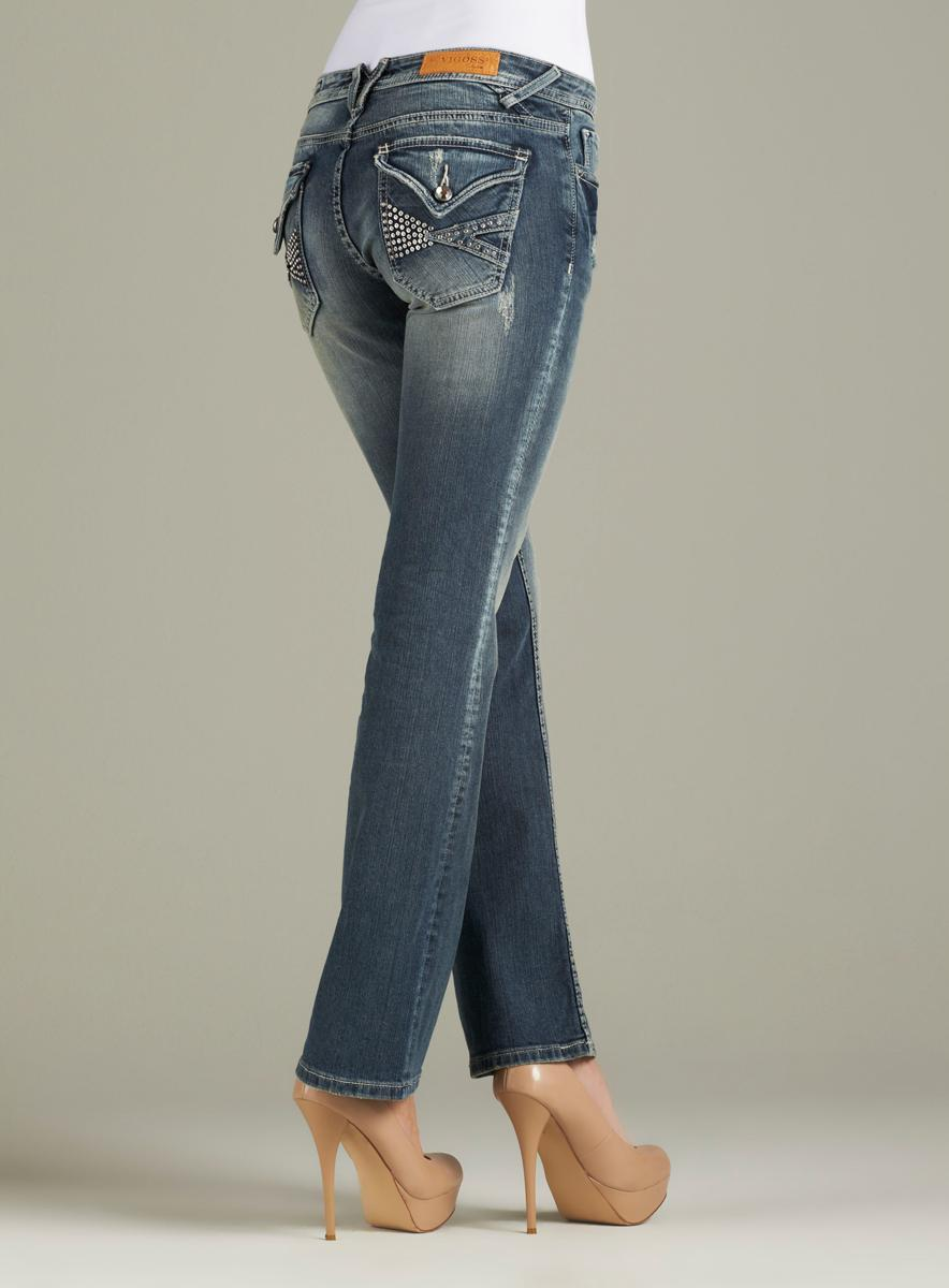 Vigoss Bootcut Jean With Rhinestone V Flap Back Po