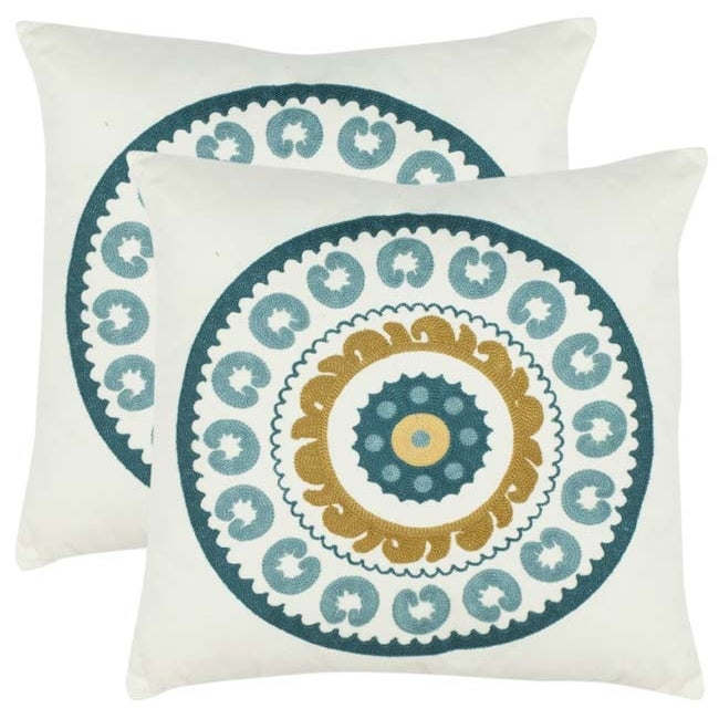 Safavieh Celebrations 18-inch White/ Turquoise Decorative Pillows (Set of 2)