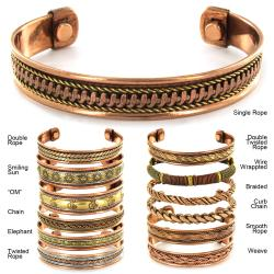 Two-toned High-polish Copper Magnetic Patterned Cuff Bracelet