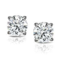 Platinum Clarity-enhanced Round Diamond Stud Earrings (J-K, SI1-SI2)