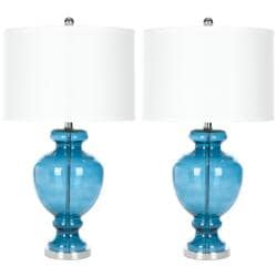 Indoor 1-light Turquoise Glass Table Lamps (Set of 2)