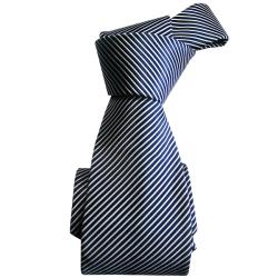 Dmitry Men's Navy Striped Italian Silk Tie