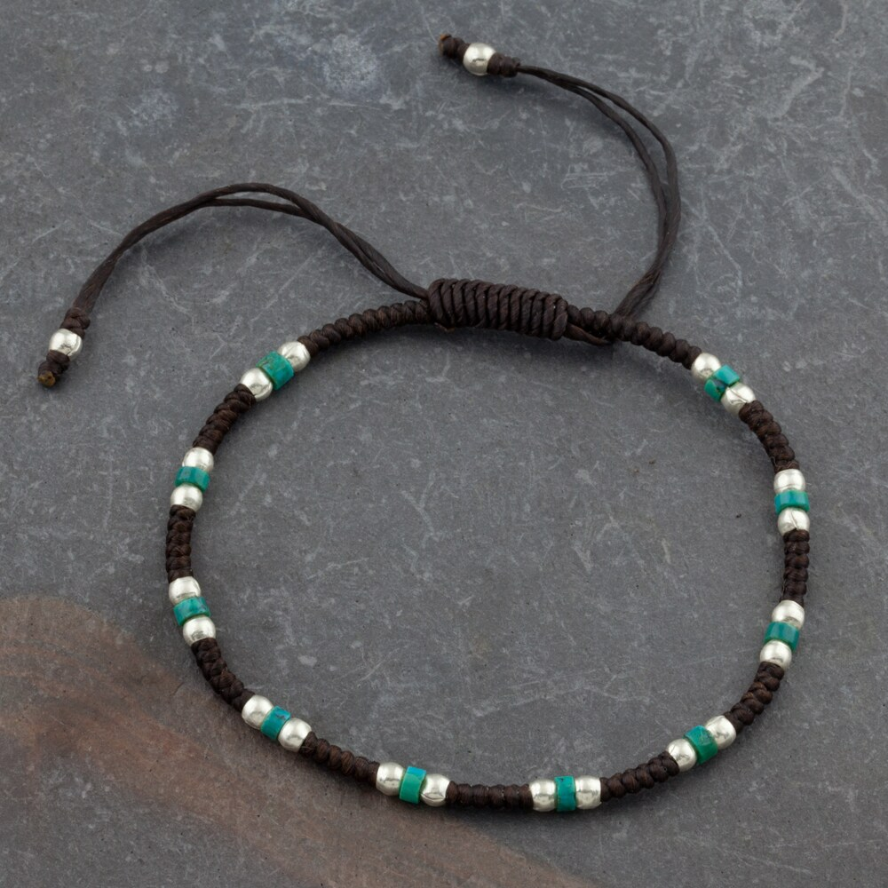 Cotton Waxed Thread Bracelet Beaded With Turquoise and Silver Beads (Thailand)