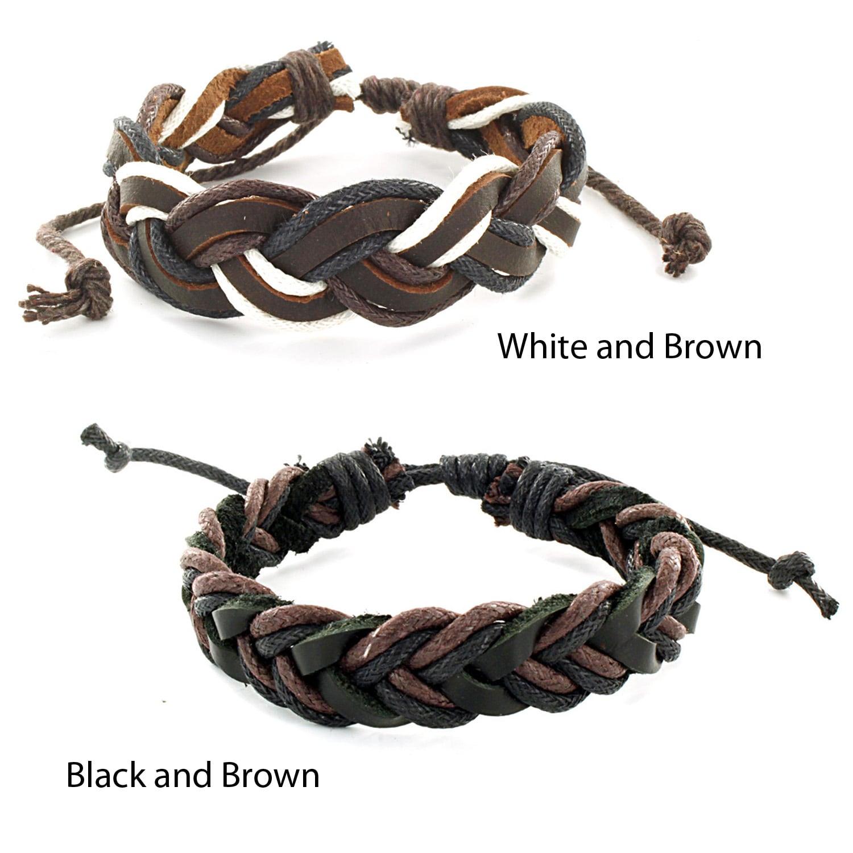 West Coast Jewelry Two-tone Woven Leather Cord Bracelet