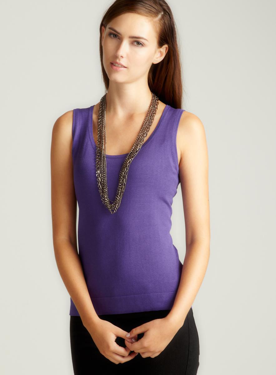 August Silk Purple Twin Set Shell