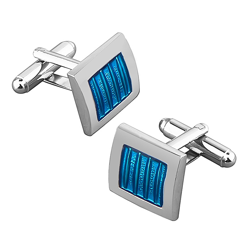 BasAcc Blue/ Silver Square Cufflink