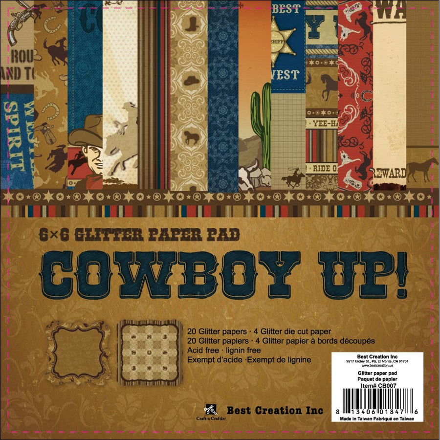 "Cowboy Double-Sided Cardstock Pack 6""X6"" 24 Sheets-"