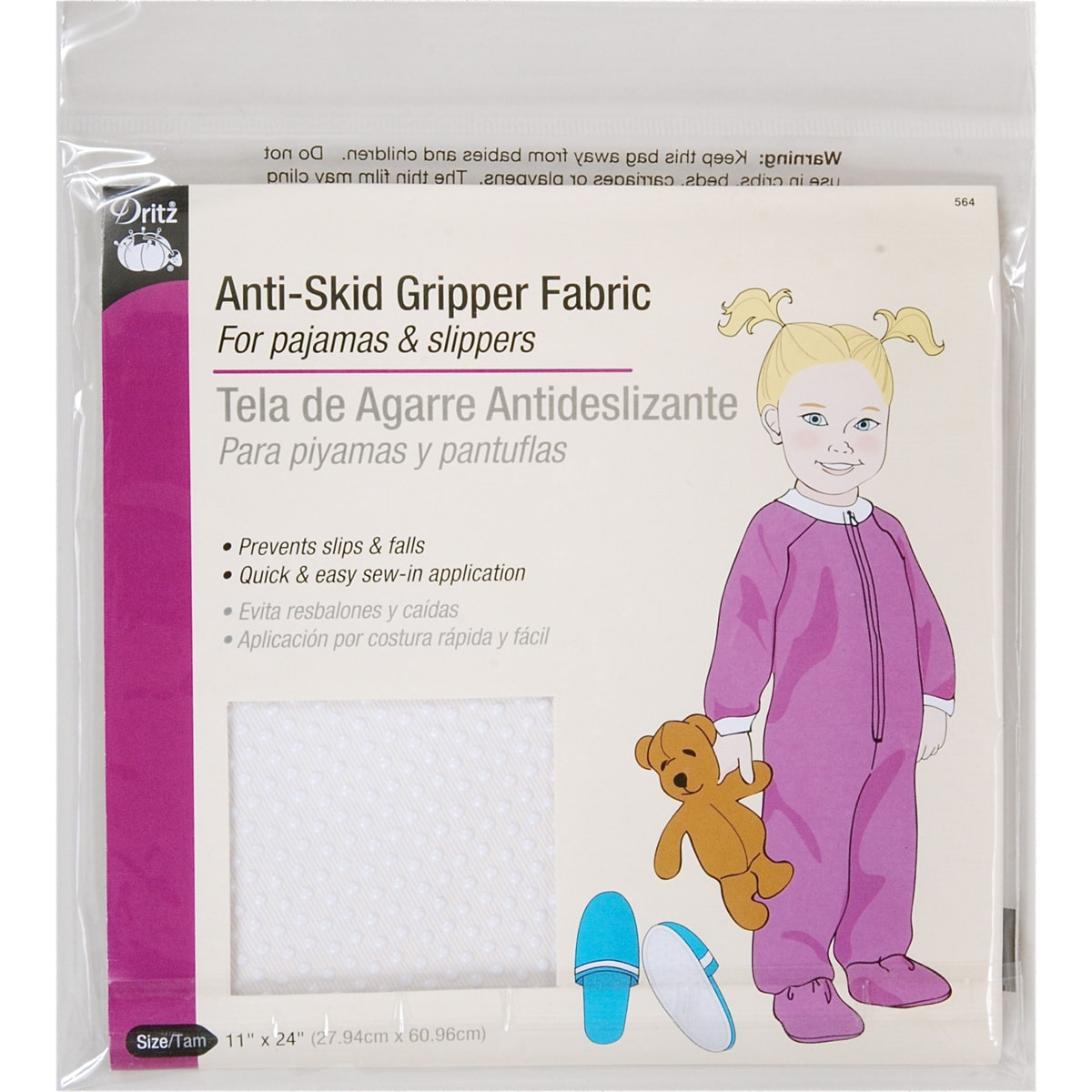 "Anti-Skid Gripper Fabric 11""X24""-White"