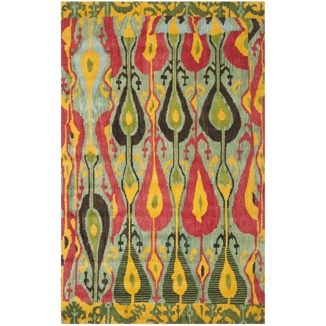 Handmade Ikat Blue/ Green Wool Rug (6&#39; x 9&#39;)