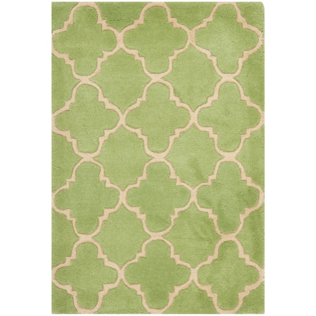 Handmade Moroccan Green Wool Rug (3&#39; x 5&#39;)