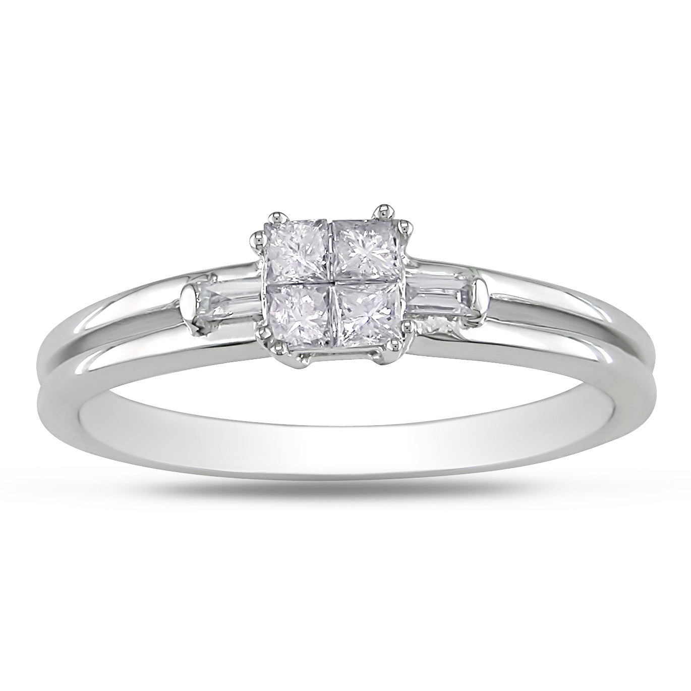 Miadora 14k White Gold 1/4ct TDW Princess Diamond Ring (G-H, I1-2)