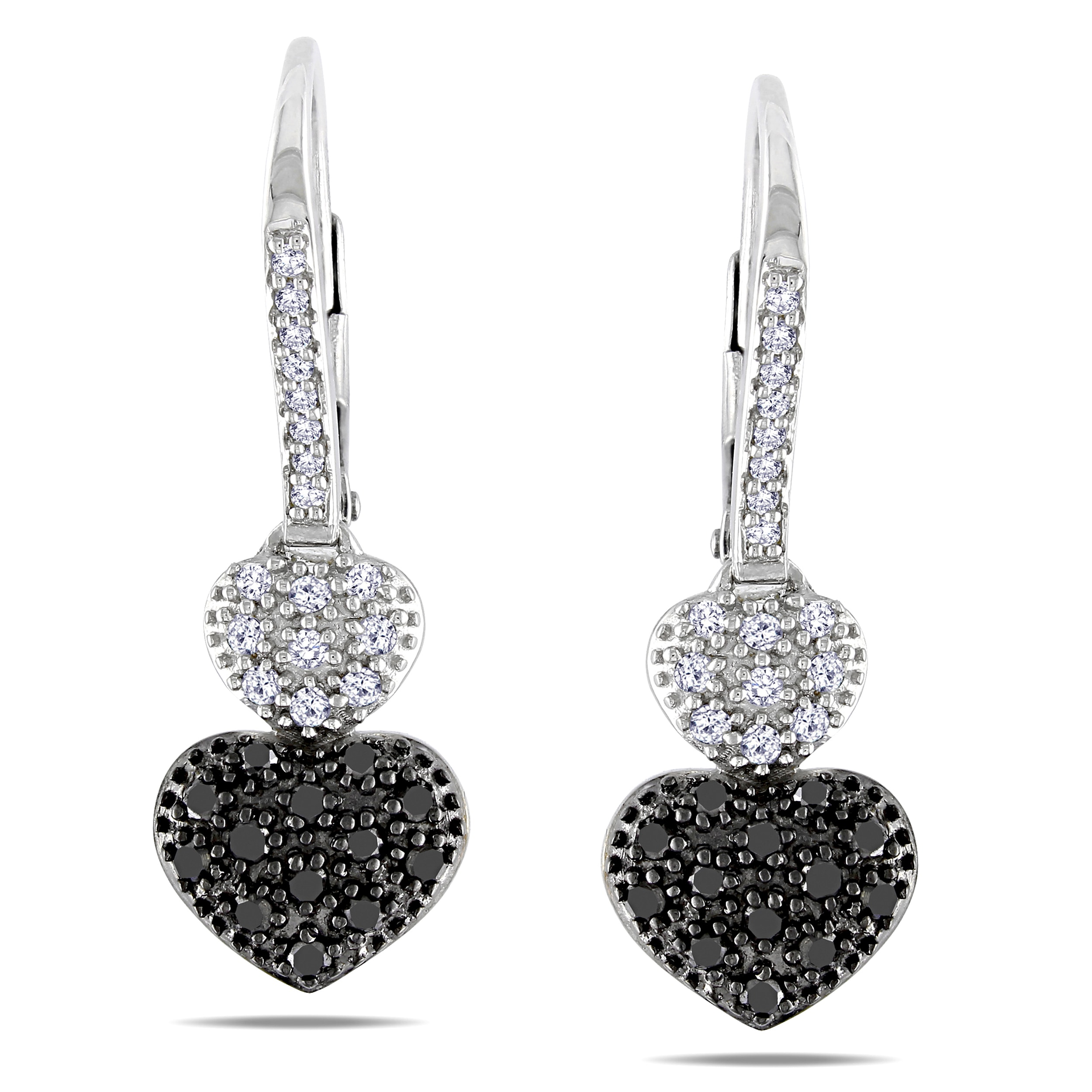 Miadora Sterling Silver 1/2ct TDW Black and White Diamond Earrings (H-I, I3)