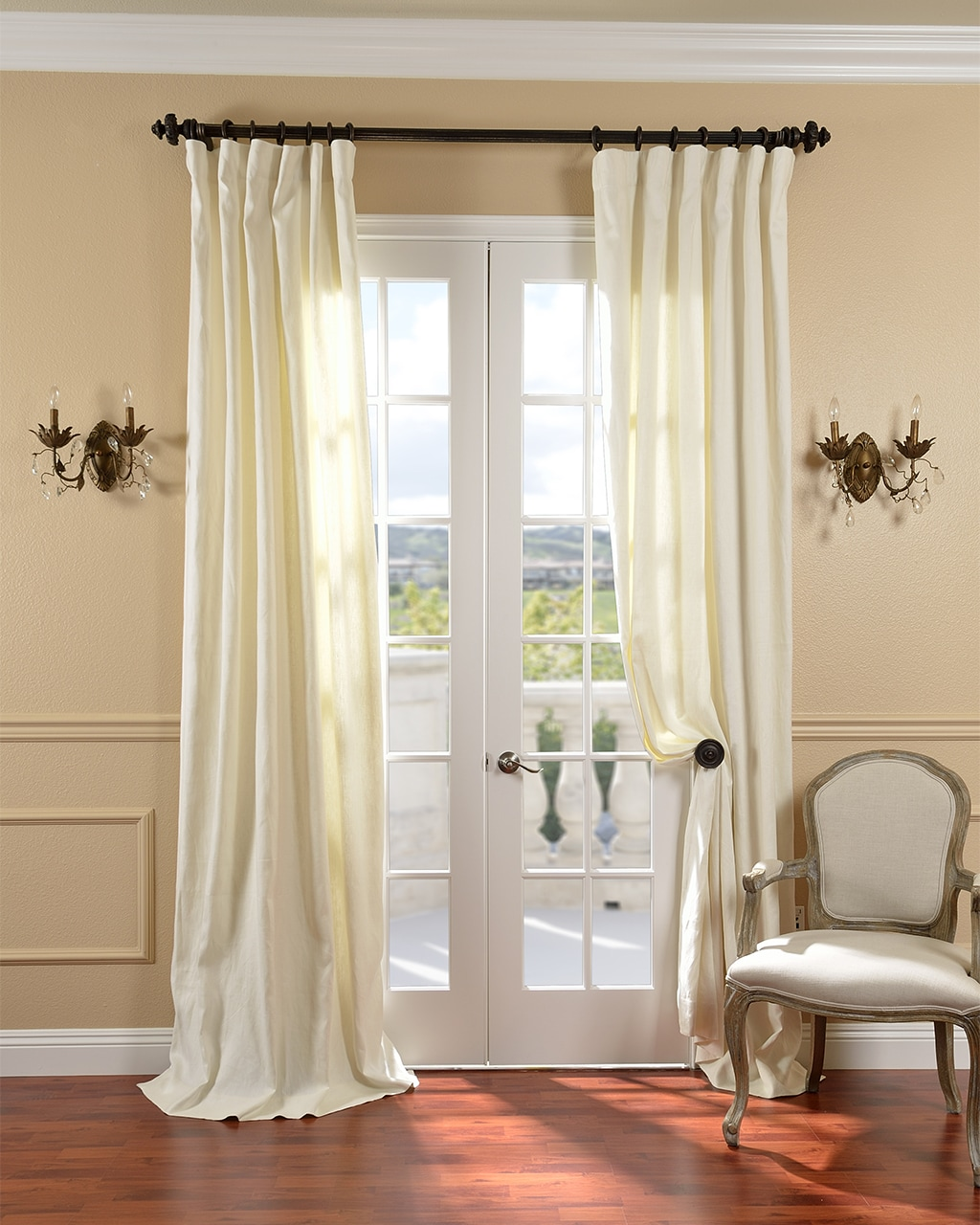 Cream Belgium Yarn Linen Curtain Panel