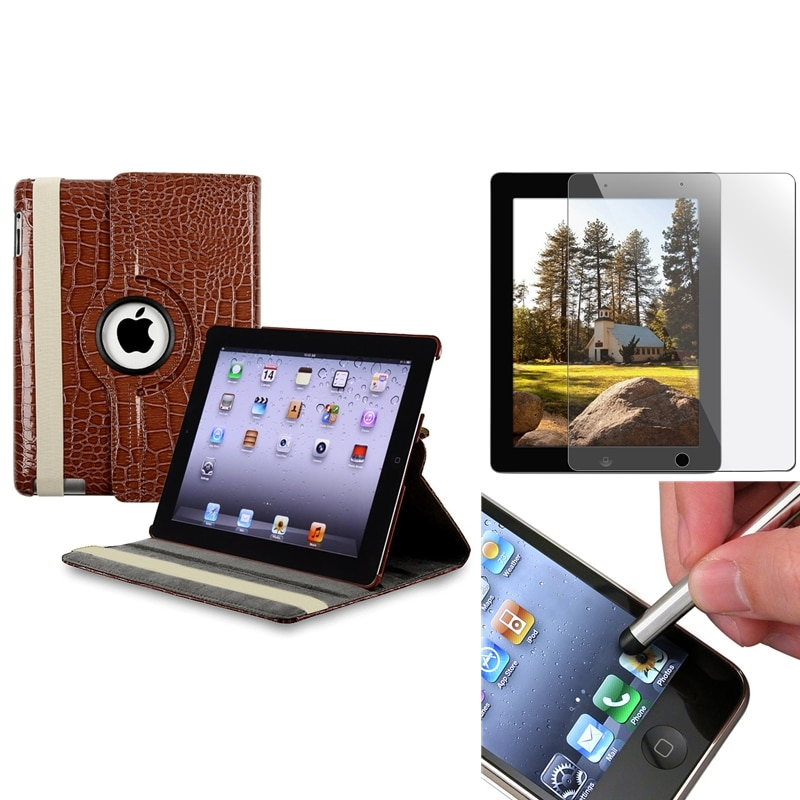 Brown Leather Case/ Screen Protector/ Stylus for Apple iPad 3