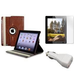 Brown Leather Case/ Screen Protector/ Car Charger for Apple iPad 3