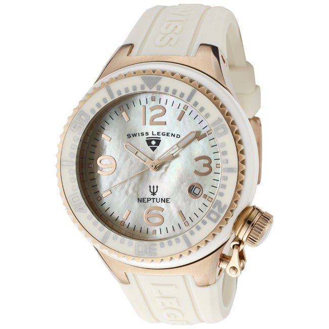 Swiss Legend Unisex 'Neptune Ceramic' Beige Silicone Watch