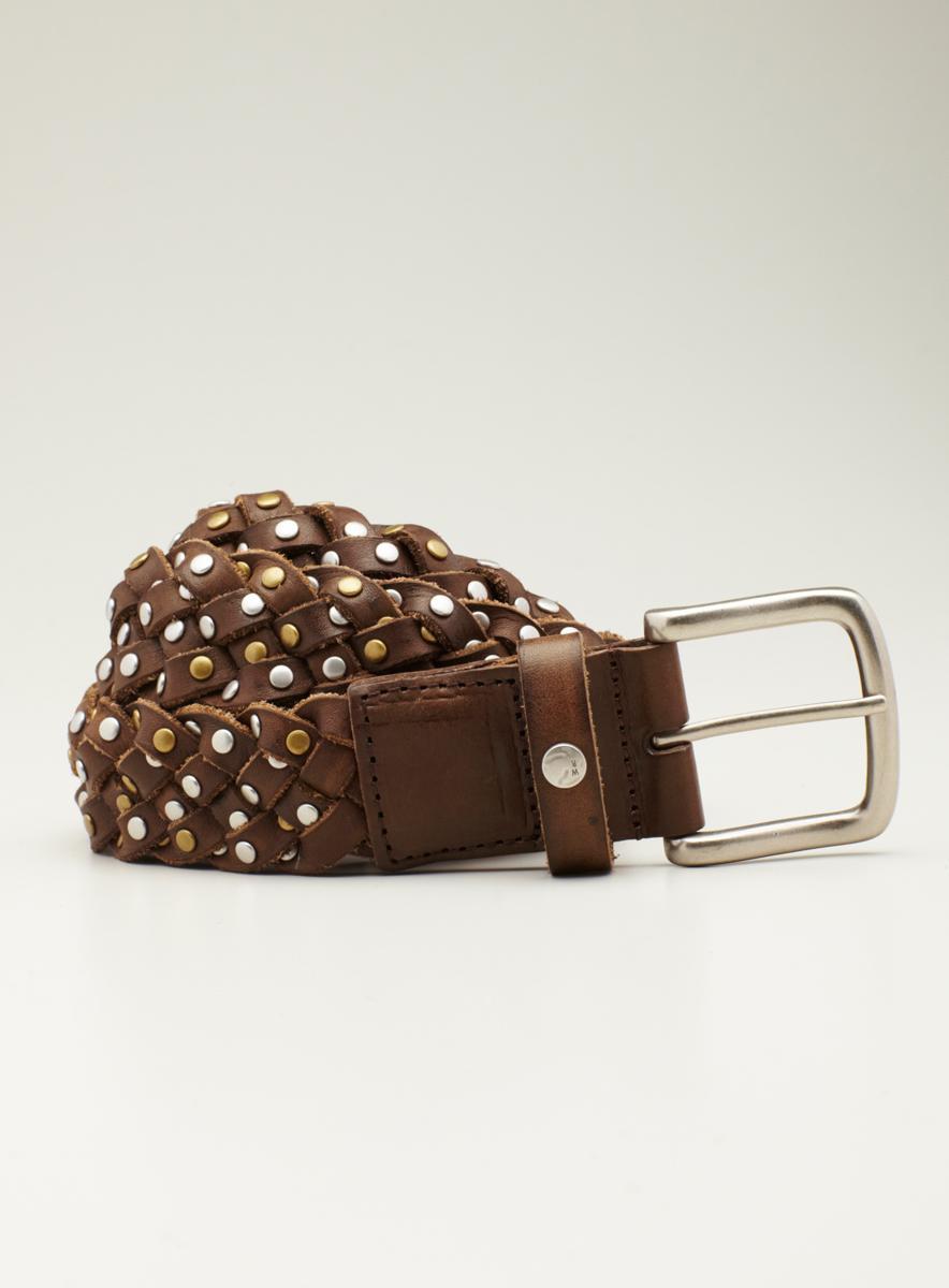 William Rast Belt Leather Braided Belt With Studs