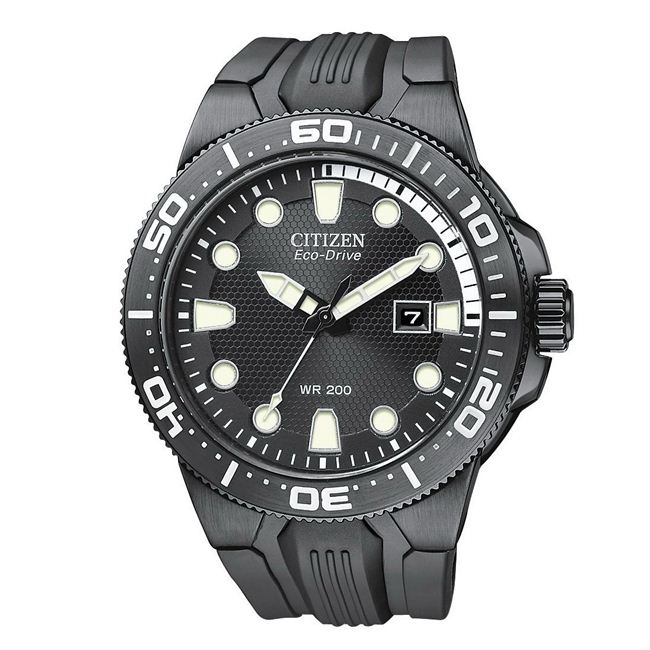 Citizen Men's Eco-Drive Black Scuba Fin Rubber Black Dial Watch