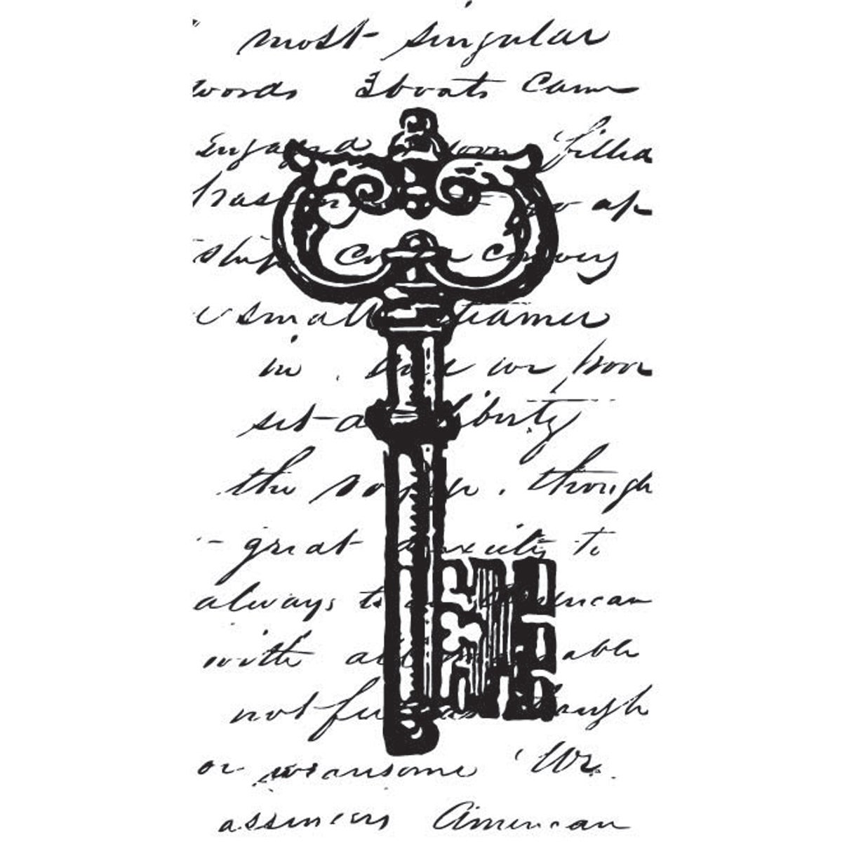 "Mounted Rubber Stamp 1.5""X2.5""-Collage Key"