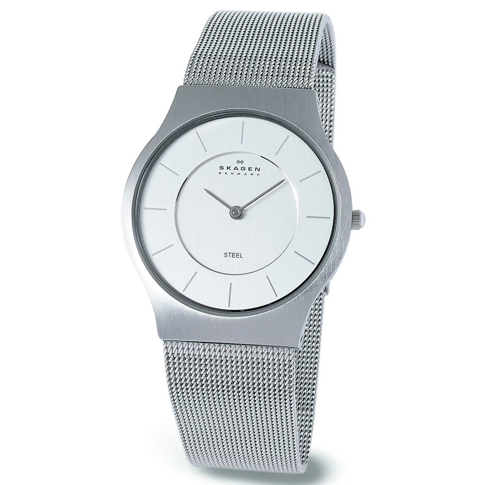 Skagen Men's 233LSS Stainless Steel White Dial Quartz Watch