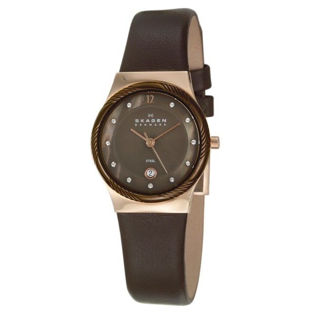 Skagen Women's Brown Leather Rose Goldtone Stainless Steel Watch
