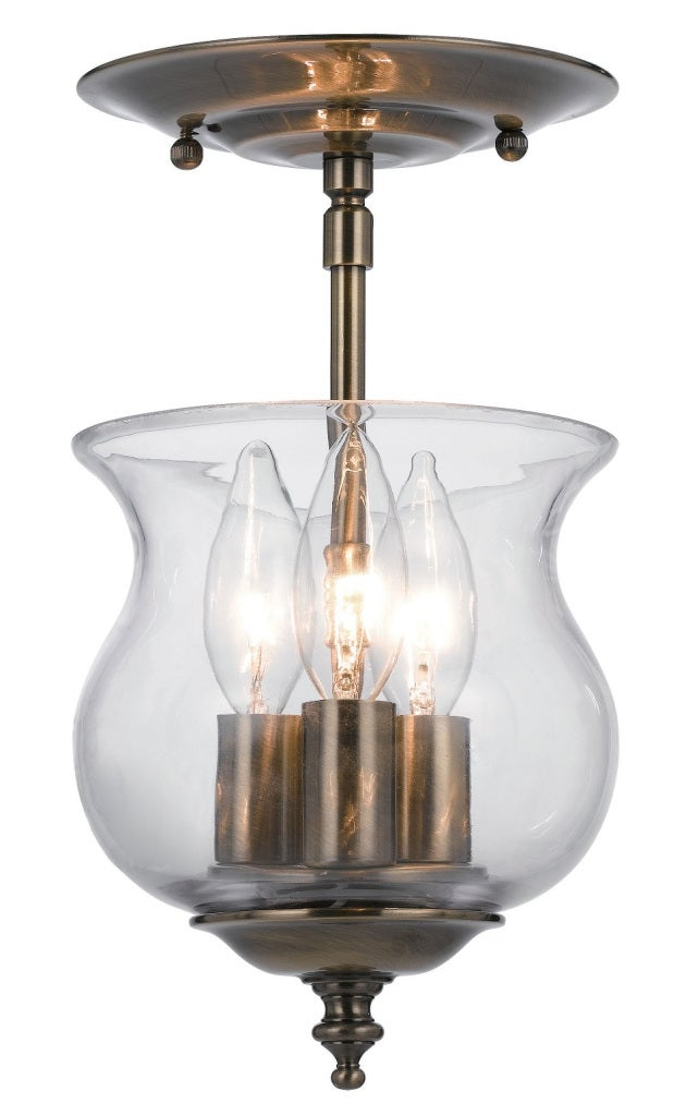 Ascott 3-light Antique Brass Semi-flush Light Fixture