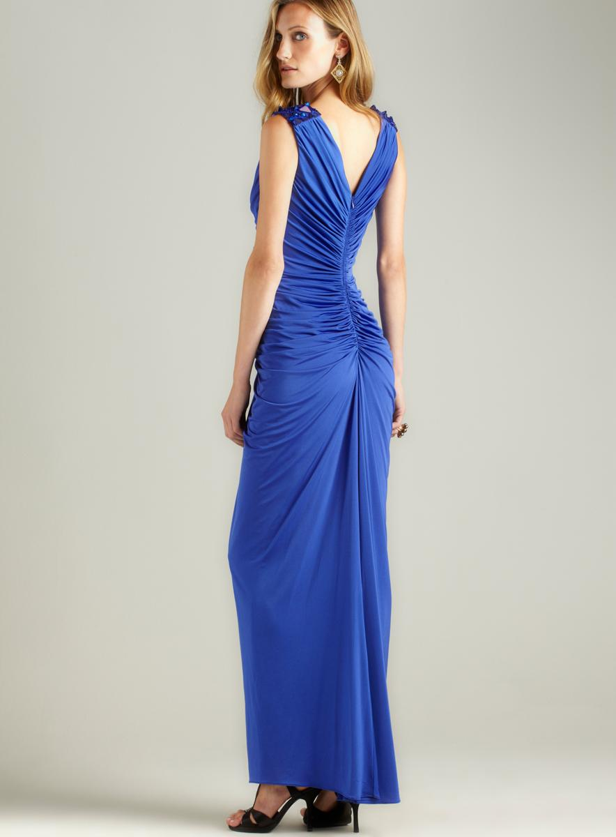 Tadashi Sequin Trim Shoulder Gown