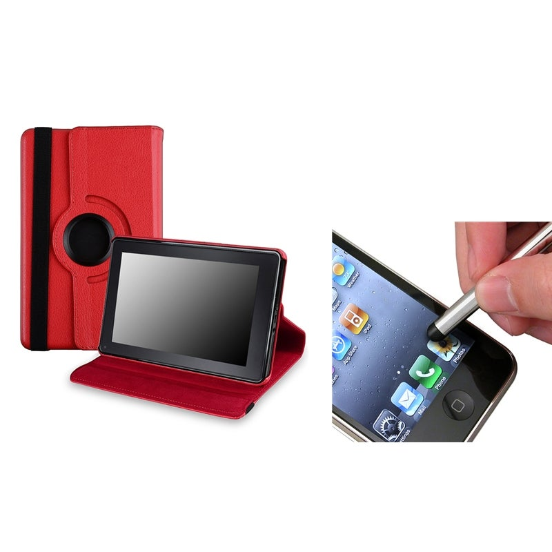 Red Leather Swivel Case/ Stylus for Amazon Kindle Fire