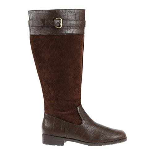 Women's Annie Denver Wide Calf Brown Velvet Suede