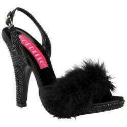 Women's Bordello Siren 04 Black Satin/Black Rhinestones