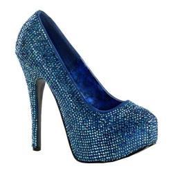 Women's Bordello Teeze 06R Blue Satin/Iridescent Rhinestones