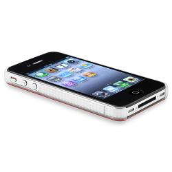 Red Shiny Case Skin/ Mirror LCD Protector for Apple iPhone 4/ 4S