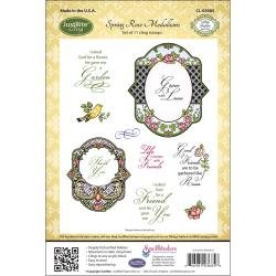 Justrite Stampers Cling Stamp Set-Spring Rose Medallions