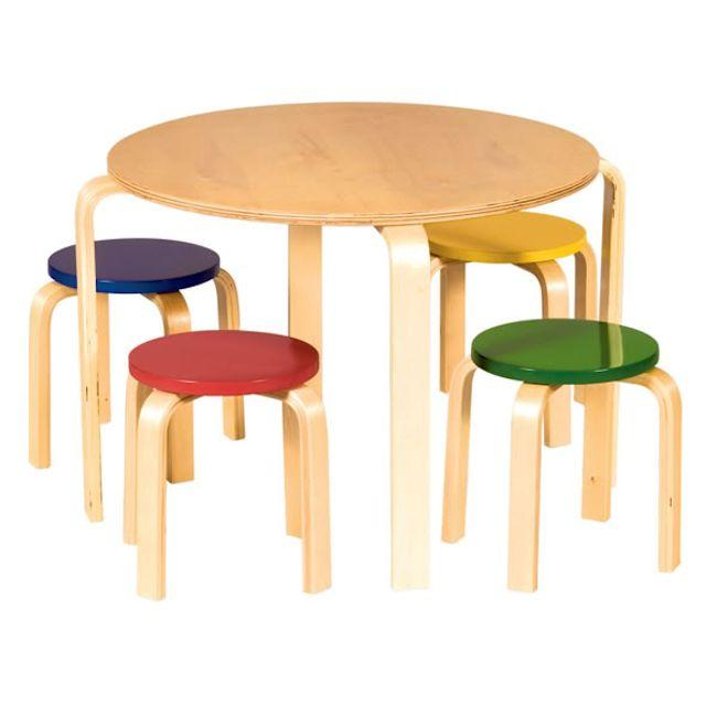 Guidecraft Nordic Table and Multi Colored Chairs Set