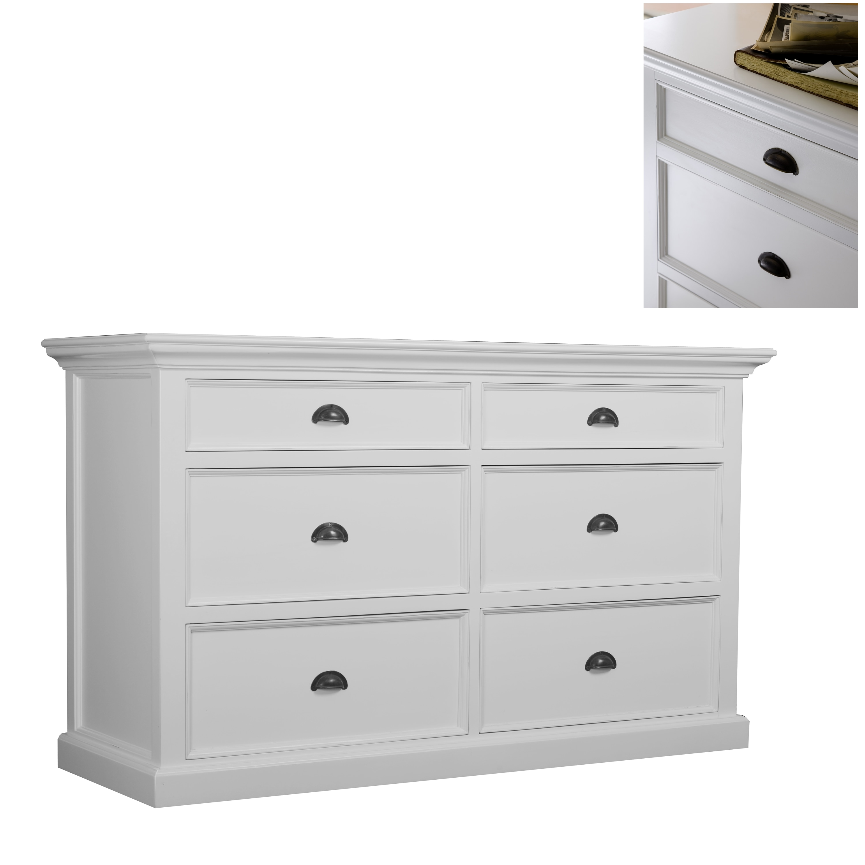 Interior White 6 Drawer Dresser
