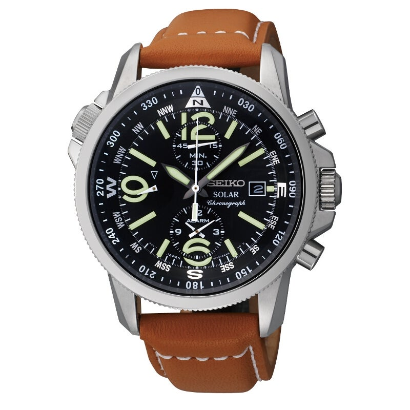 Seiko Men's Solar Chrono Steel Compass Leather Watch
