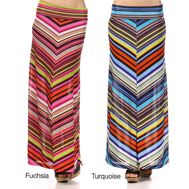 Tabeez Women's Chevron Skinny Maxi Skirt