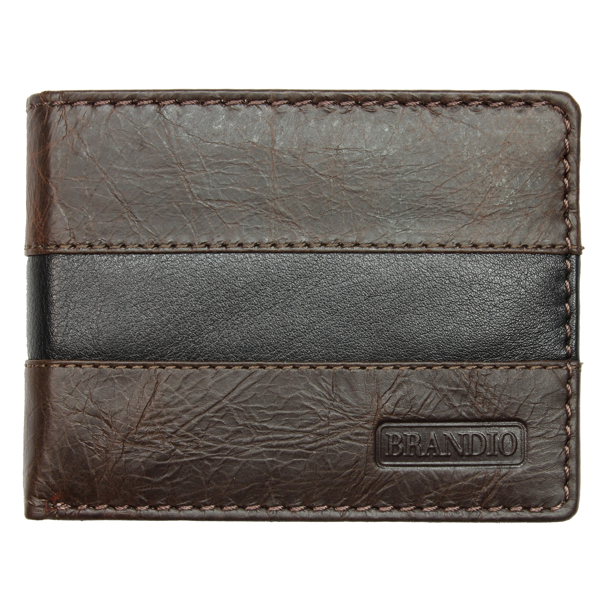 Brandio Fashion Men's Leather Wallet Bi-fold in Brown Black Design.
