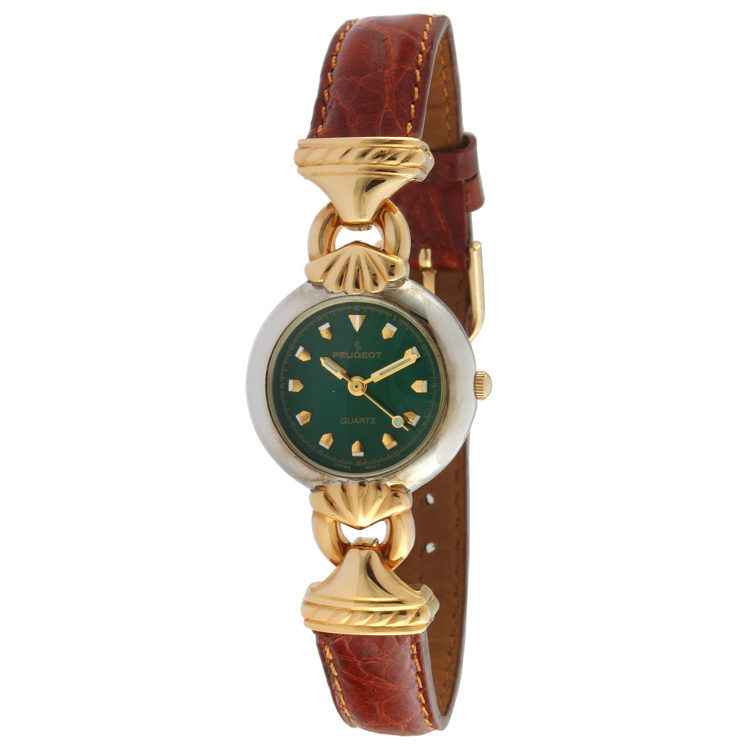 Peugeot Women's '710-7' Green Dial Leather Strap Watch