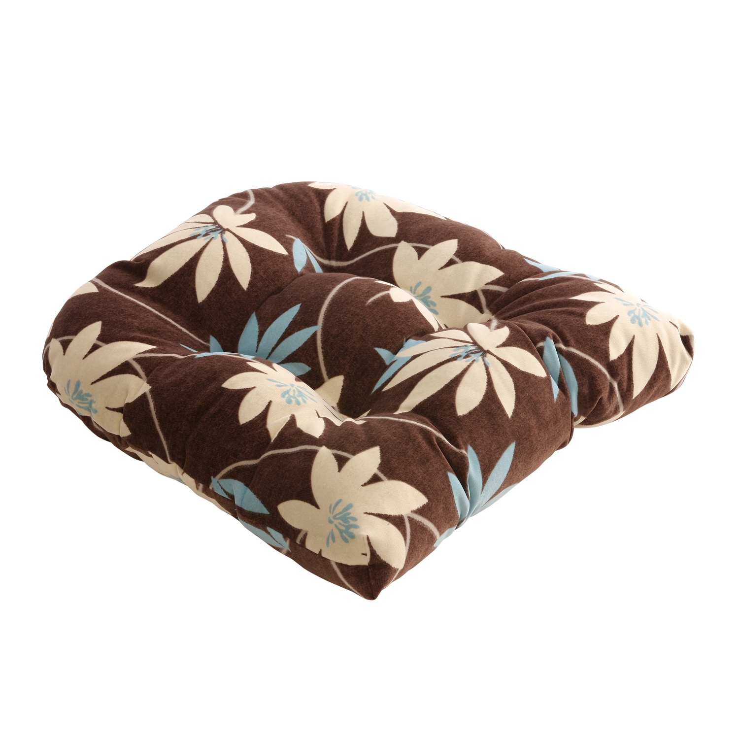 Brown/Blue Flocked Floral Chair Cushon