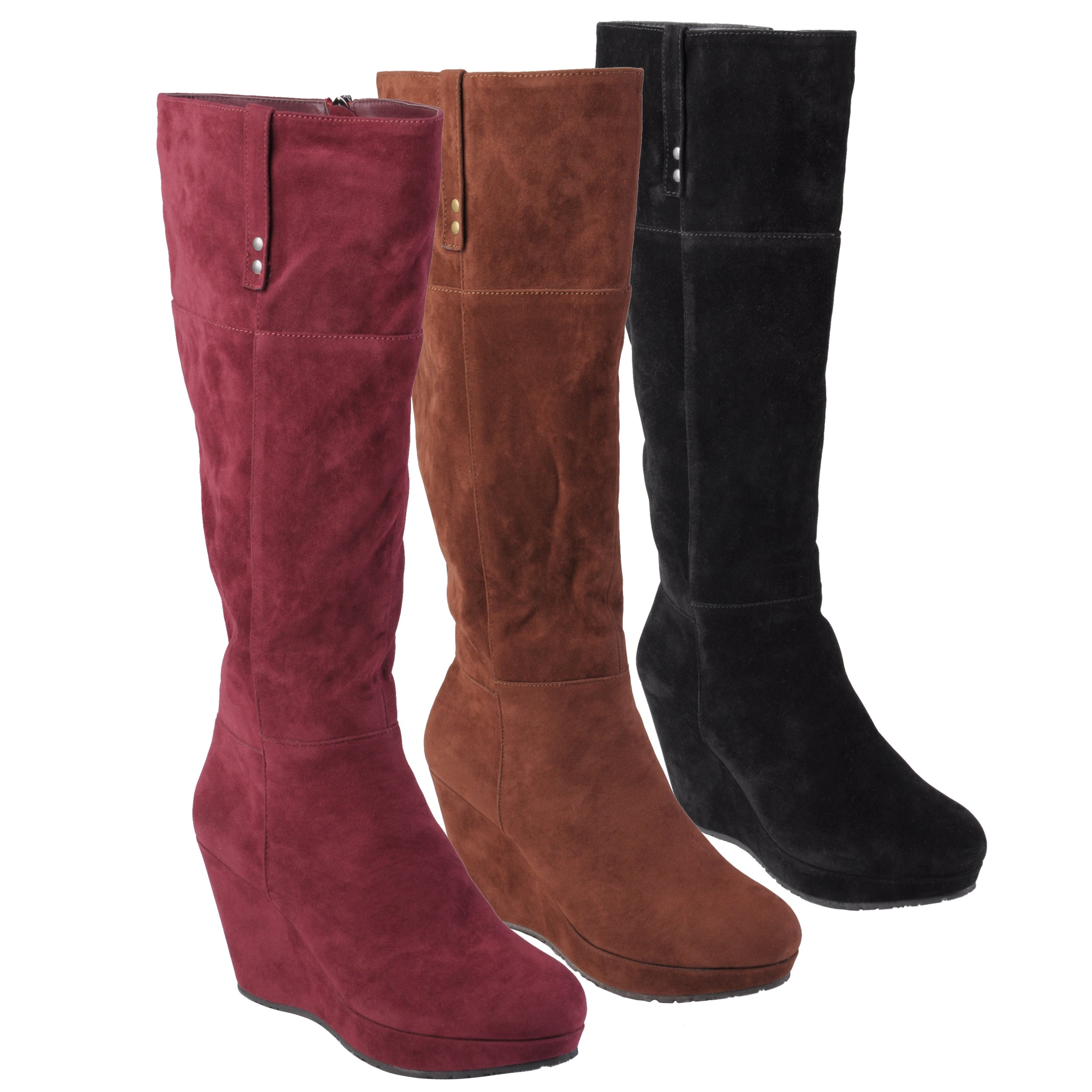 Journee Collection Women s Trish Sueded Tall Wedge Boots Today: $42