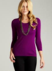 August Silk Violet Round Neck Pullover