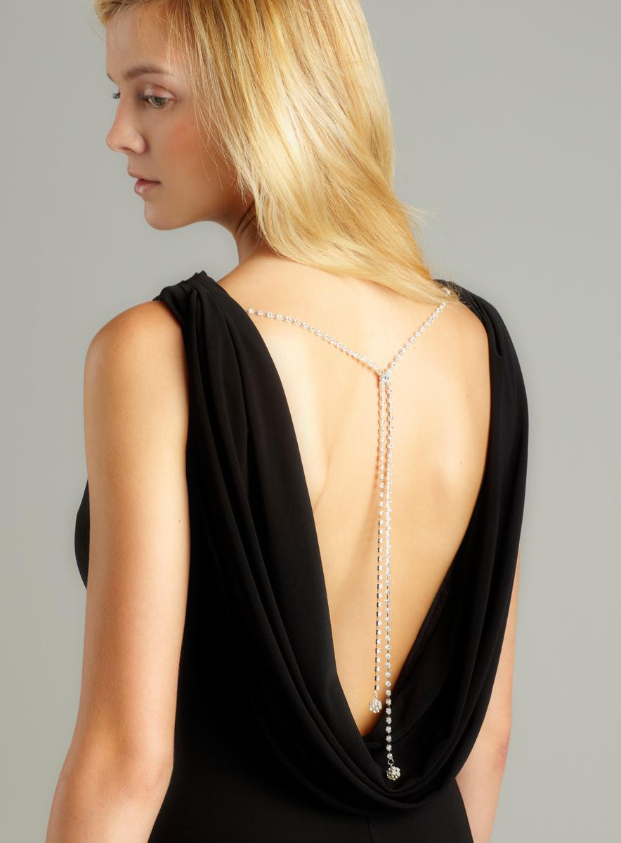 Nightway Rhinestone Draped Back Gown