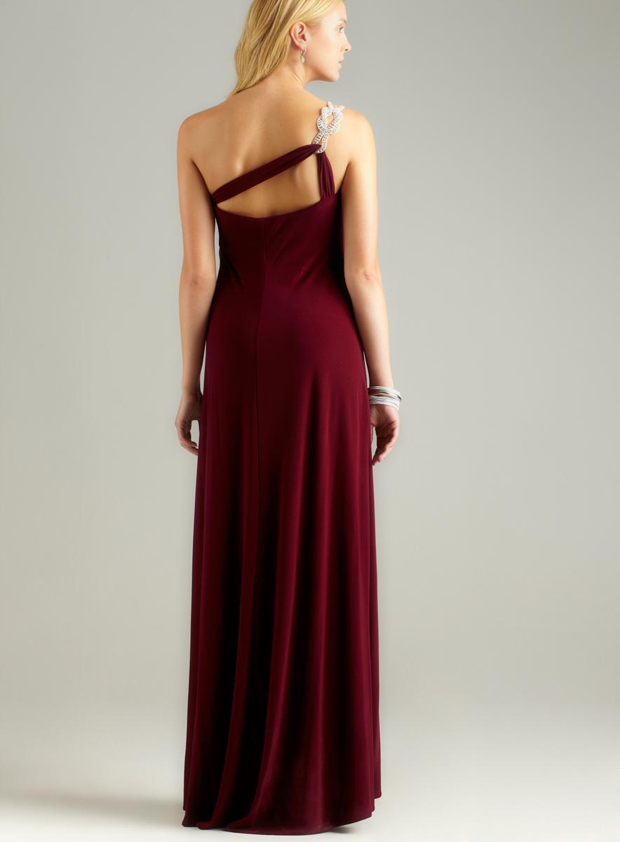 Nightway Rhinestone One Shoulder Gown